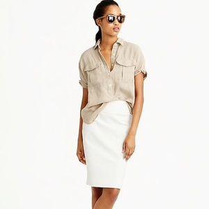 🆕 J. Crew Stretch Cream Midi Skirt